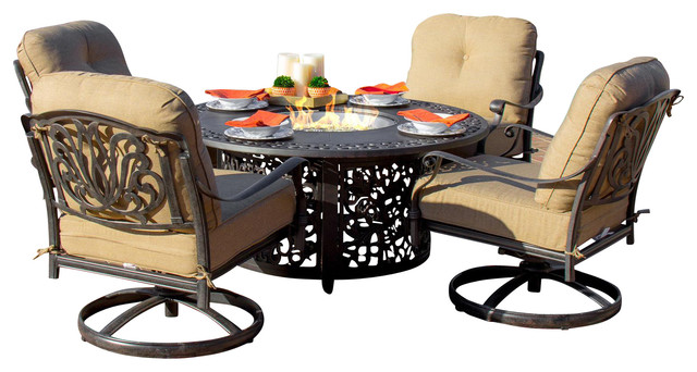 Rosedown Cast Aluminum 5 Piece Set With Fire Pit Table And