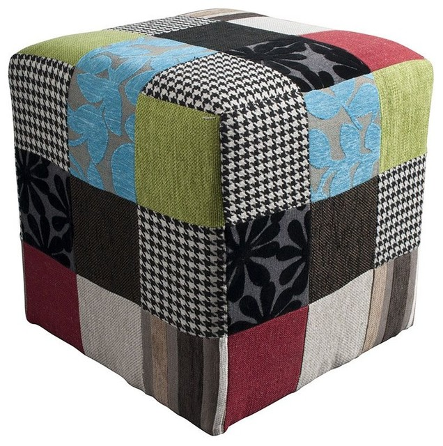 Pouf patchwork colors couleur multicolore moderne - Pouf repose pieds salon ...