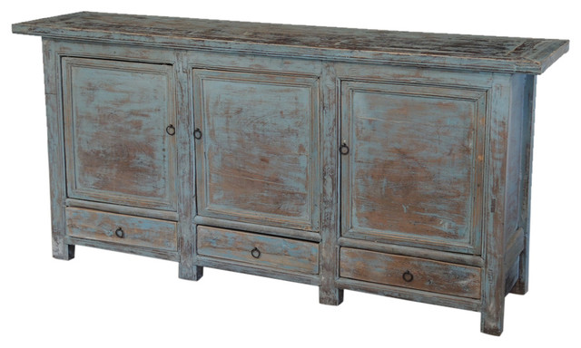 Consigned Large Antique Blue Sideboard Beach Style