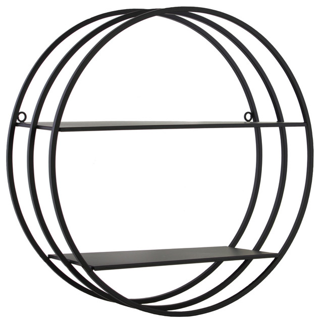 Metal Round Wall Shelf With Frame Design - Display And Wall Shelves - by Urban Trends Collection