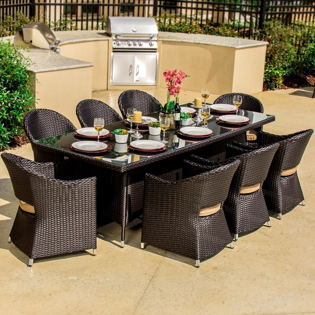 Providence 8 Person Resin Wicker Patio Dining Set Modern Outdoor Dining S