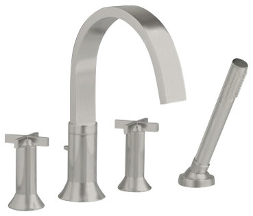 Berwick Roman Tub Faucet With Hand Shower In Satin Nickel Contemporary Ba
