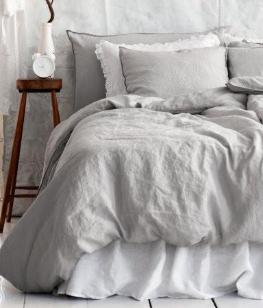 Linen Duvet Cover Set, Light Gray - Traditional - Duvet Covers And Duvet Sets - by H&M