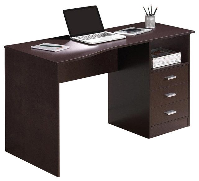Techni mobili classy computer desk with 3 drawers in wenge for Mobili computer