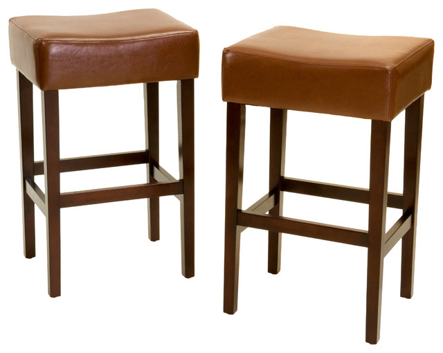 Malachi Leather Backless Bar Stools Set Of 2 Hazelnut