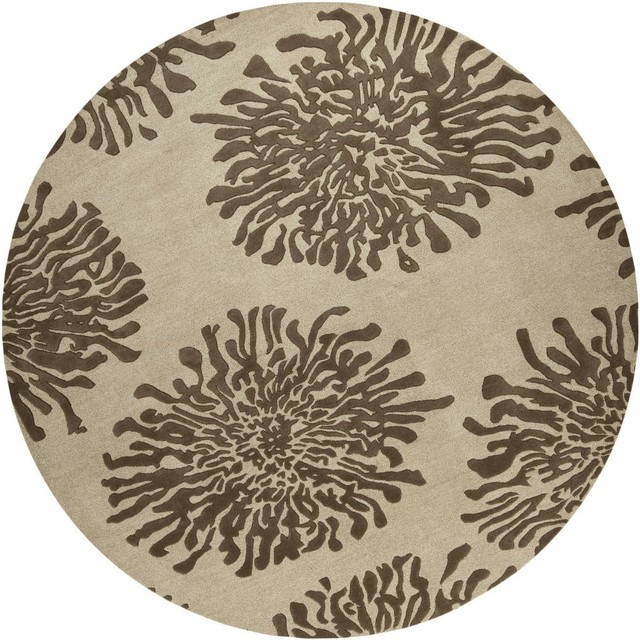 Contemporary bombay round 8 39 round light brown beige area for Round contemporary area rugs
