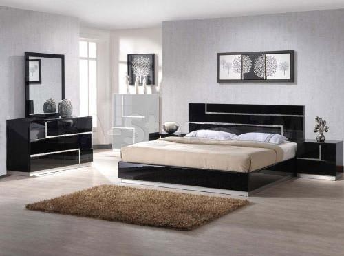 moda contemporary high gloss black bedroom set