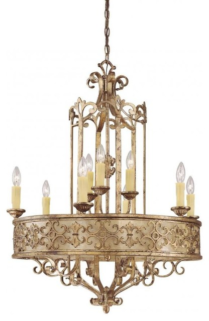 Nine Light Oxidized Silver Up Chandelier Traditional