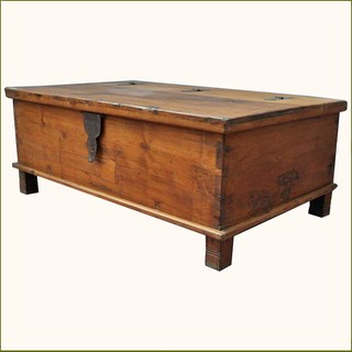 Appalachian Rustic Teak Hinged Top Coffee Table Chest