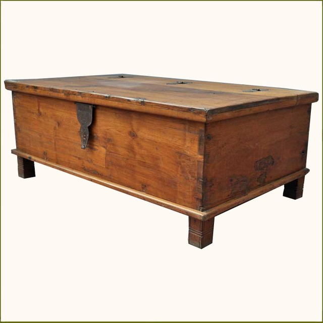 Appalachian rustic teak hinged top coffee table chest traditional coffee tables austin Traditional coffee tables and end tables