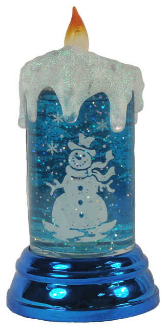 Led Lighted Shimmering Snowman Candle Christmas Table Top