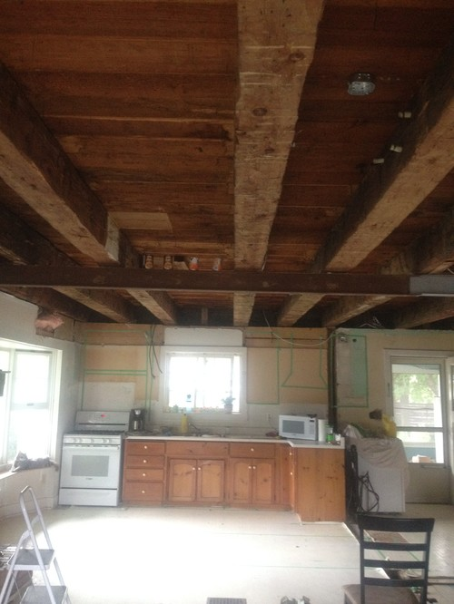 How to white wash wood beams for White ceiling with wood beams