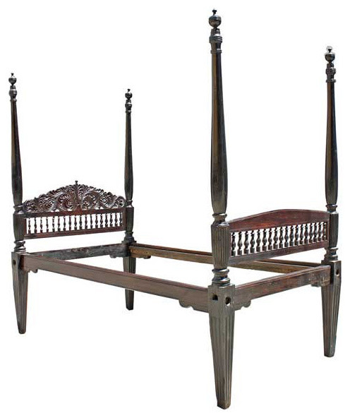 Anglo indian rosewood four poster bed traditional for Traditional four poster beds