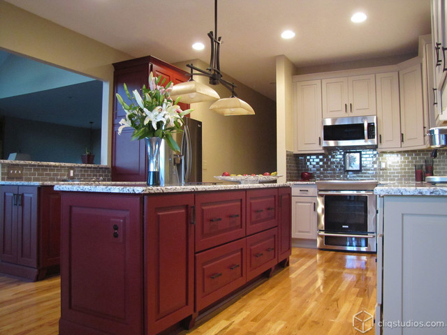 Painted Garnet And Urban Stone Kitchen Contemporary