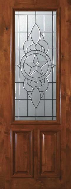 Slab Exterior Single Door 96 Wood Alder Brazos 2 Panel 2 3