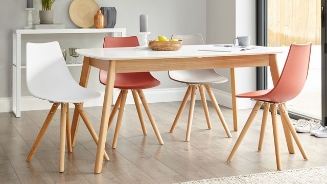 Aver Oak And White Extending Dining Table Contemporary