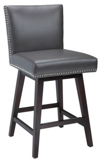Studded Leather Swivel Stool Gray Counter Height Bar