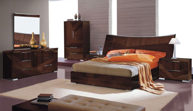 Made in italy wood high end contemporary furniture with - King size bedroom sets in atlanta ga ...