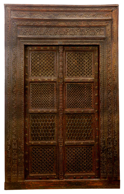 Hand Carved Indian Haveli Salvaged Wood Door Traditional