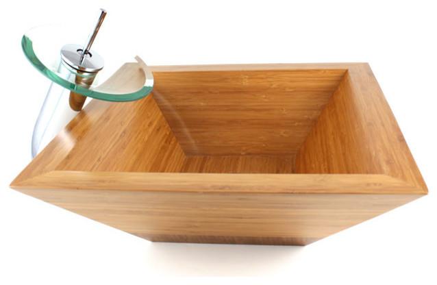 Guardian Countertop Vessel Sink, Bamboo, 16.75