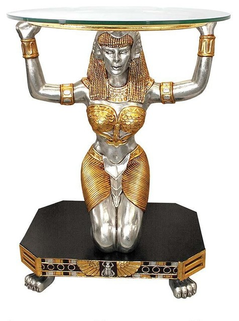 Cleopatra Ornate Traditional Cherry Formal Dining Room: Ancient Egyptian Goddess Statue Sculpture Glass Console
