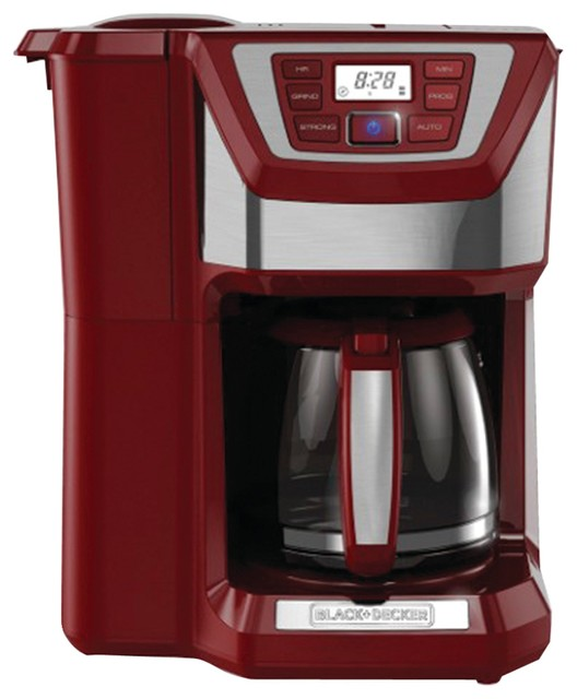 Black And Decker Easy Brew Coffee Maker : Black and Decker 12-Cup Mill and Brew Coffee Maker, Red - Contemporary - Coffee Makers - by ...