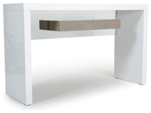 Console space blanc laqu contemporary console tables - Table console extensible blanc laque ...