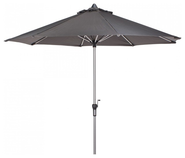 bonsoni 3m deluxe crank parasol in grey with 38mm brushed aluminium pole garden contemporary. Black Bedroom Furniture Sets. Home Design Ideas