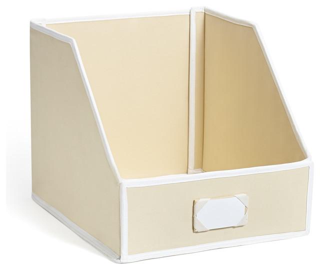 Collapsible linen closet storage bin beige medium for Beige bathroom bin