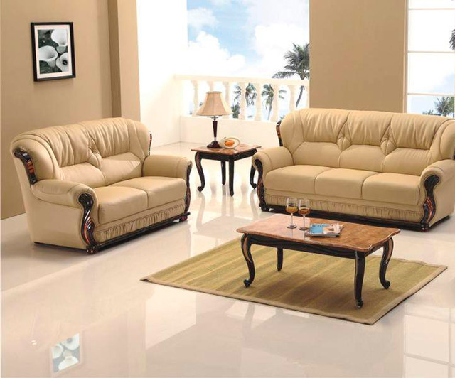 Honey Sofa Set With Wood Accents Transitional Living Room Furniture Sets