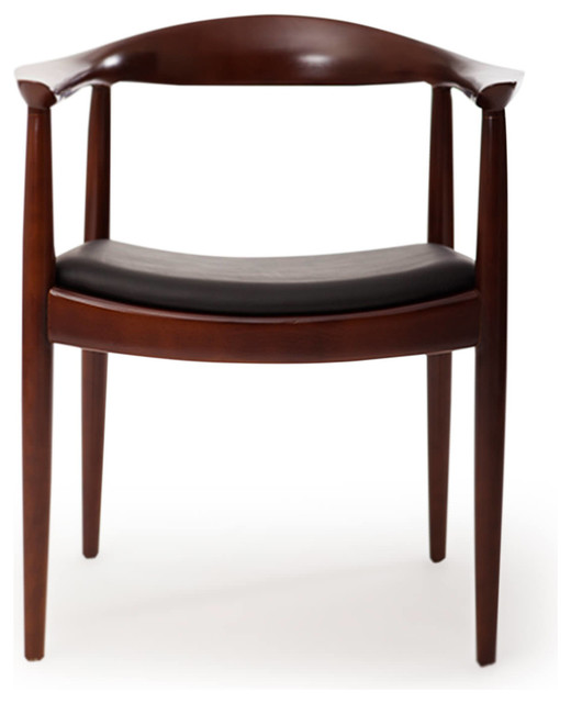 Italian Leather Dining Chairs: Kardiel Presidential Dining Chair, Black Italian Leather