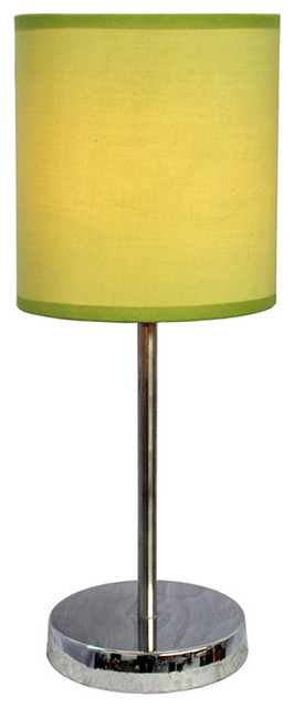 Simple Designs Living Room Bedroom Chrome Basic Table Lamp With Green Shade Contemporary