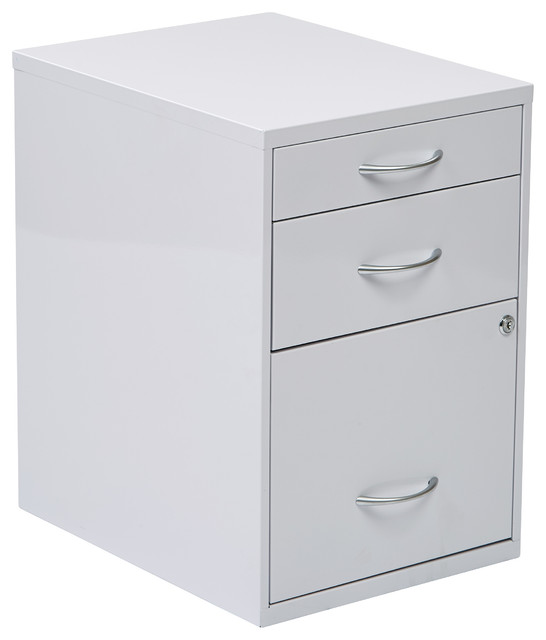 "22"" Pencil, Box, Storage File Cabinet in White Finish - Contemporary - Filing Cabinets - by ..."