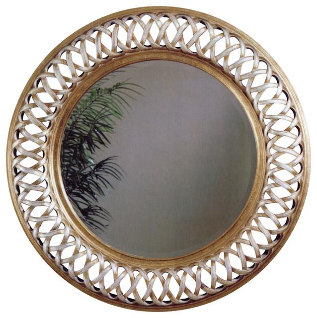 Silver leaf round wall mirror mediterranean mirrors for Round silver wall mirror