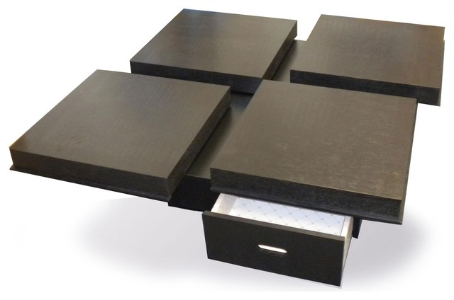 Contemporary Wenge Veneer Square Coffee Table With Drawers Takawa Contemporary Coffee Tables