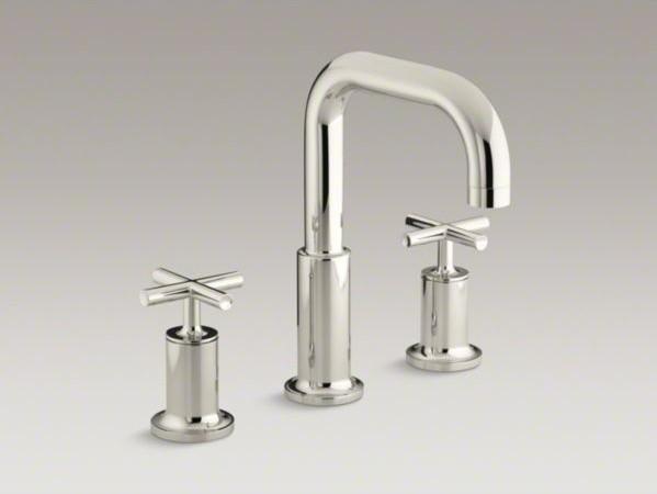 Kohler purist r deck mount bath faucet trim for high flow valve with cross hand contemporary for Kohler hands free bathroom faucet