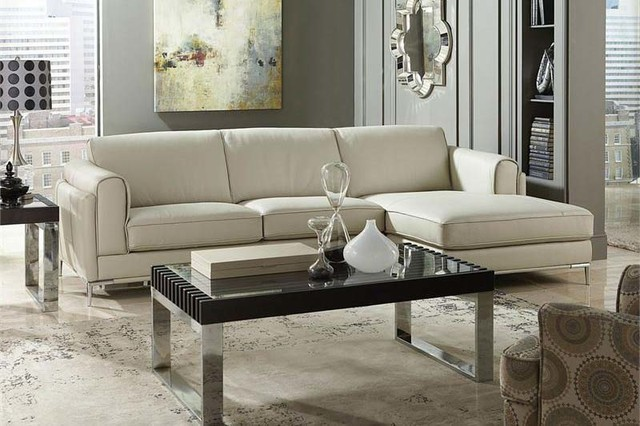 Homelegance modern small beige top grain leather sectional for Beige sectional with chaise