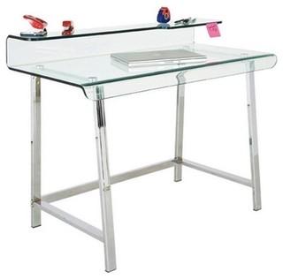 Bureau clear en verre et acier inoxydable contemporain for Meuble bureau verre acier