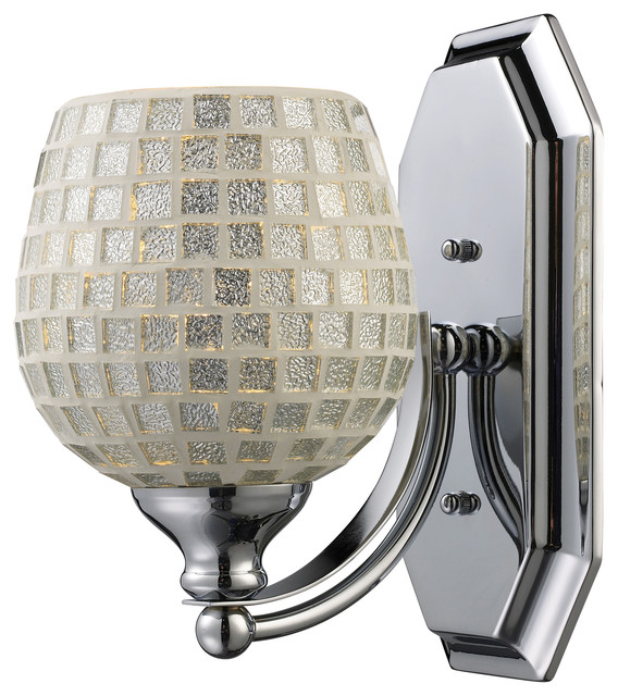 Silver Crystal Wall Lights : Vanity 1-Light Bathbar in Polished Chrome and Silver Mosaic Glass - Contemporary - Bathroom Wall ...