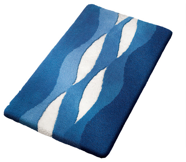 Navy Blue Modern Non Slip Washable Bathroom Rug Cloud