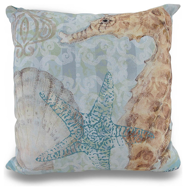 Beach Style Outdoor Cushions : Boho Coastal Seahorse Ocean Themed 18in. In/Outdoor Decorative Throw Pillow - Beach Style ...