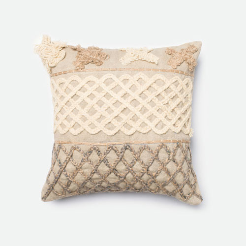 Modern Bedroom Pillows : Beige and Brown 18-Inch Decorative Pillow - Modern - Bed Pillows