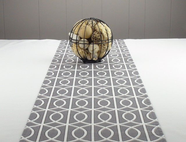 Modern Table Runner Gray Bridges Contemporary Table