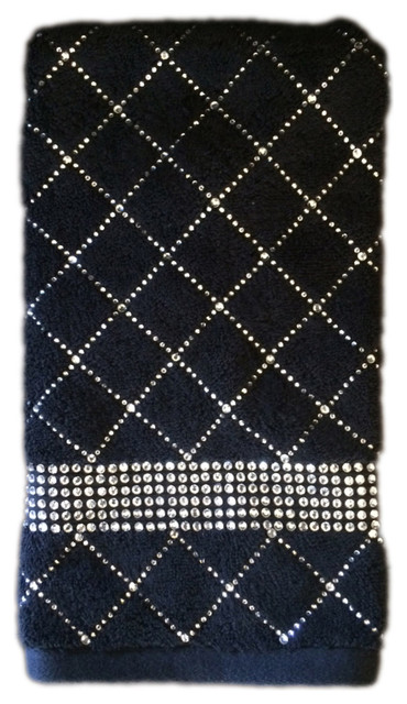 Rhinestone Hand Towel X Pattern Gray Contemporary