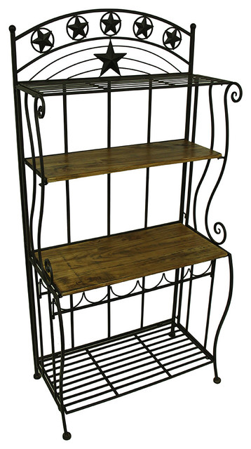 Western Star Wood and Metal 4 Tier Shelf Rack With Wine Storage - Eclectic - Wine And Bar ...