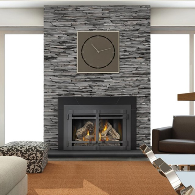 Napoleon large direct vent gas fireplace insert with night for Large modern fireplaces