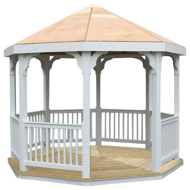 10 39 vinyl gazebo traditional gazebos by outdoor for Outdoor furniture gazebo