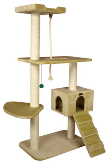Armarkat 58 inch wooden step cat tower tree condo for Cat tree steps