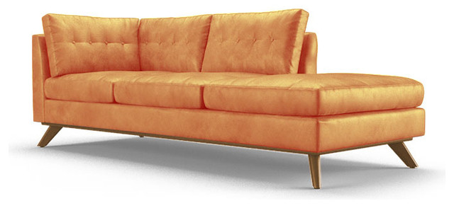 Hopson leather bumper chaise brighton sunset orange for Chaise longue orange