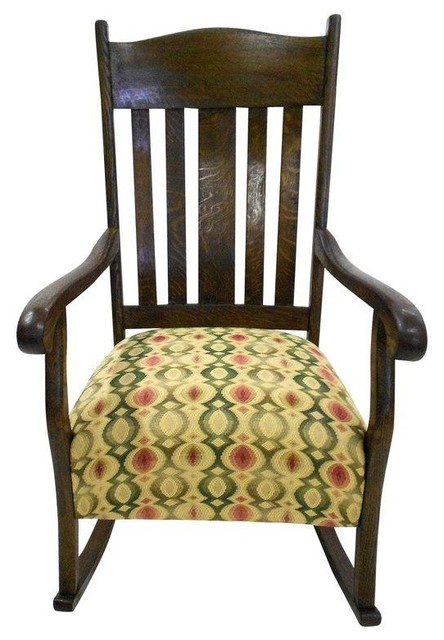 Early 20th Century Oak Rocking Chair - Rocking Chairs - by Chairish